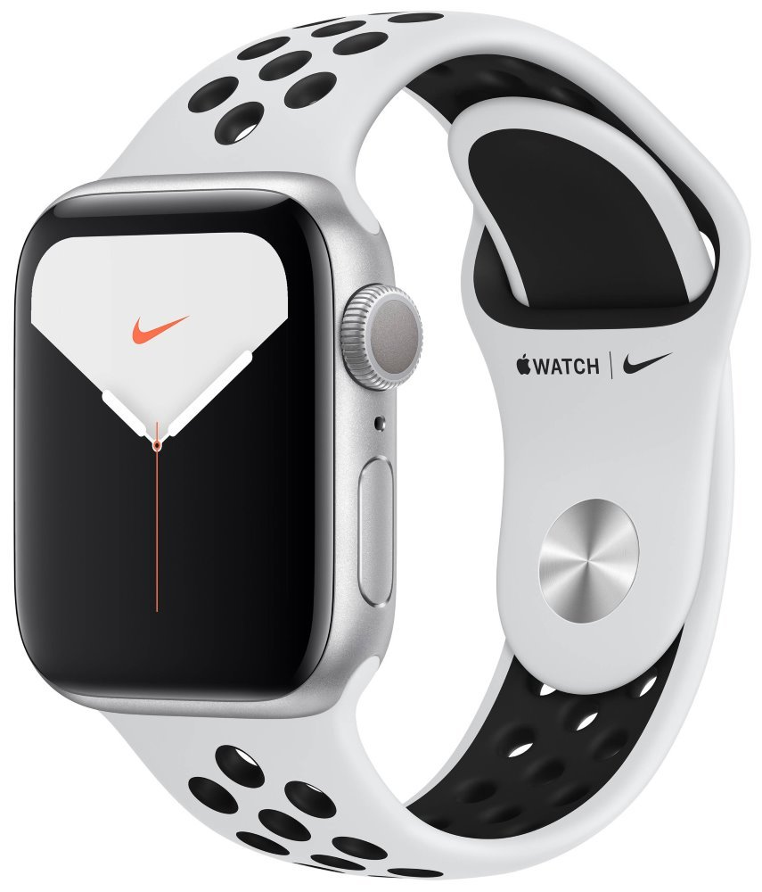 Apple Watch Nike Series 5 GPS, 40mm Silver Aluminium Case with Pure Platinum/Black Nike Sport Band mx3r2hc/a