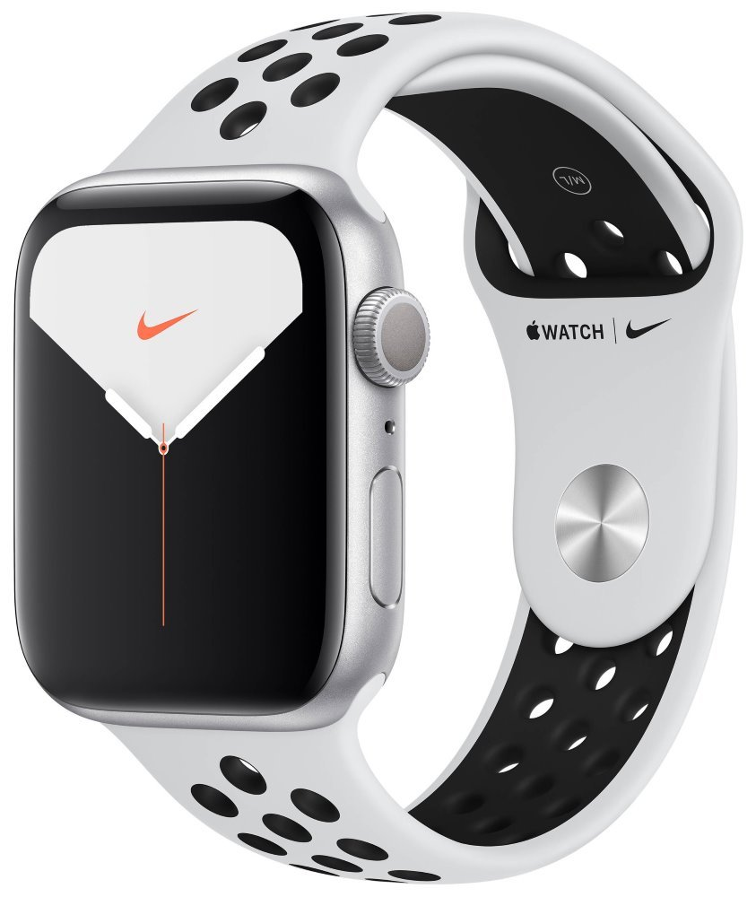 Apple Watch Nike Series 5 GPS, 44mm Silver Aluminium Case with Pure Platinum/Black Nike Sport Band mx3v2hc/a