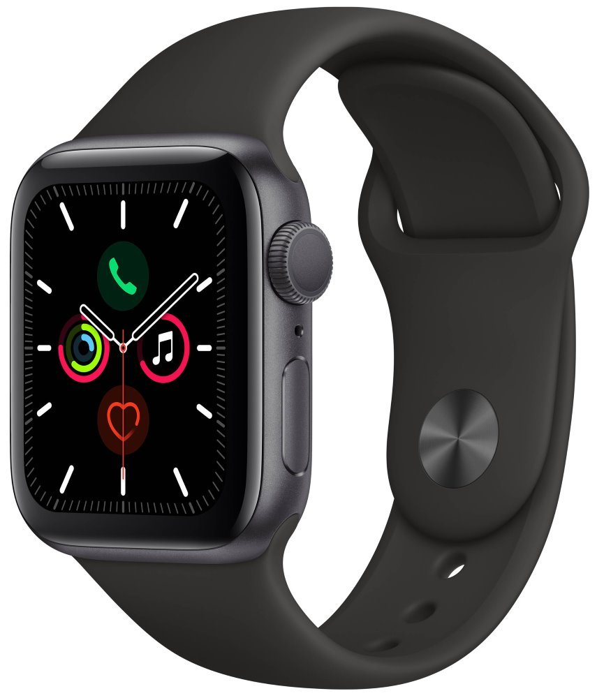 Apple Watch Series 5 GPS, 40mm Space Grey Aluminium Case with Black Sport Band mwv82hc/a