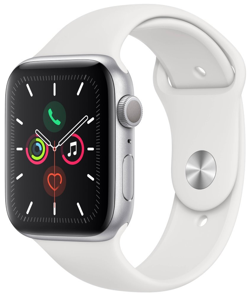 Apple Watch Series 5 GPS, 44mm Silver Aluminium Case with White Sport Band mwvd2hc/a
